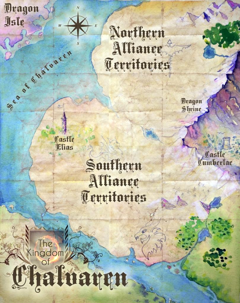 Fantasy Map for Chalvaren Rising by Paula Millhouse and Chris Keeslar (c) 2015.ChalvarenRising